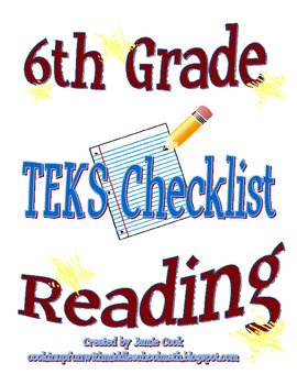STAAR Reading TEKS Checklist (6th Grade)