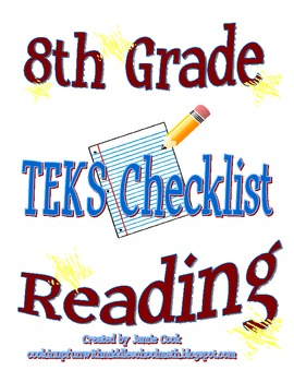 STAAR Reading TEKS Checklist (8th Grade)