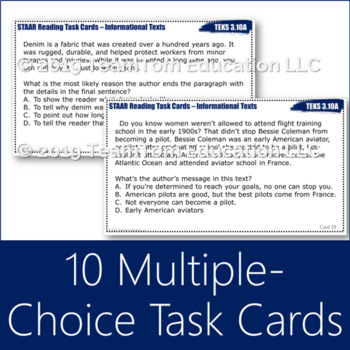 STAAR Reading Task Cards: Set 2 Informational Text 3rd-Grade