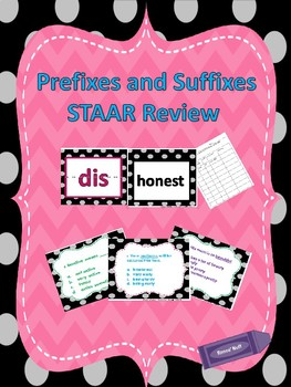 STAAR Reading Task Cards and Game for Prefix/Suffix Review TEK 3.4(a) & 4.2(a)