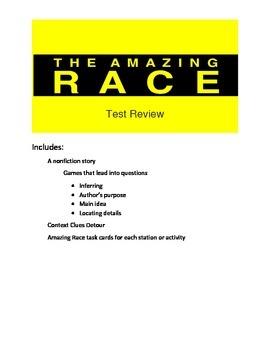 Reading Test Review Game- Amazing Race Theme- Nonfiction Passage