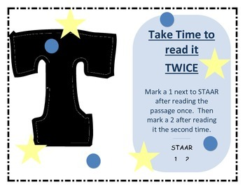 STAAR Reading Test Taking Strategies Posters