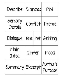 STAAR Reading Vocabulary Review - Foldable and Game - Middle School