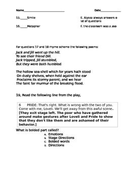STAAR Reading Vocabulary Test 5th Grade