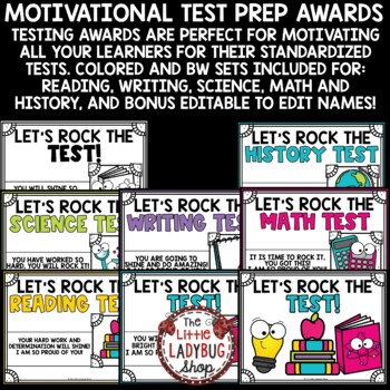 Let's Rock the Test Prep Motivational Awards- Students Help for Testing Anxiety