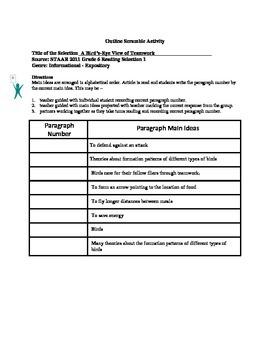 STAAR Release Analysis & Activities: A Bird's-Eye View of Teamwork, Grade 6