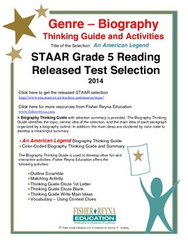 STAAR Release Analysis & Activities: An American Legend, Grade 5