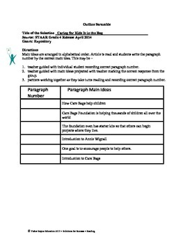 STAAR Release Analysis & Activities: Caring for Kids Is in the Bag, Grade 4