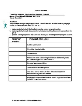 STAAR Release Analysis & Activities: The Incredible Shrinking Pyramid, Grade 6