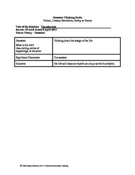 STAAR Release Analysis & Activities: Thumbprints, Grade 8