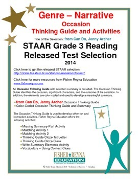 STAAR Release Analysis & Activities: from Can Do, Jenny Ar