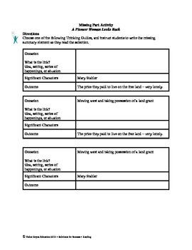 STAAR Release Analysis & Activities: A Pioneer Woman Looks Back, Grade 7