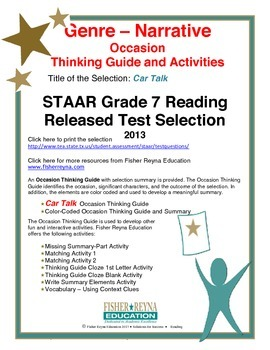 STAAR Release Analysis & Activities, Car Talk, Grade 7
