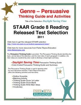 STAAR Release Analysis & Activities: Daylight Savings Time, Grade 8