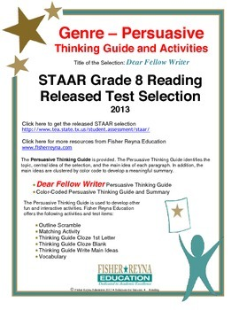 STAAR Release Analysis & Activities: Dear Fellow Writer, Grade 8