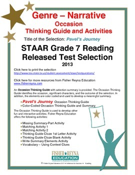 STAAR Release Analysis & Activities: Pavel's Journey, Grade 7