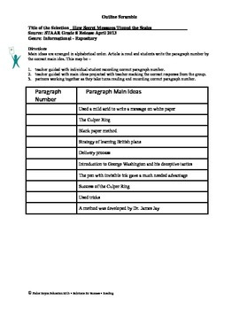 STAAR Release Analysis & Activities: Secret Messages Tipped Scales, Grade 8