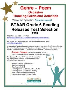 STAAR Release Analysis & Activities: Tomato Harvest, Grade 6