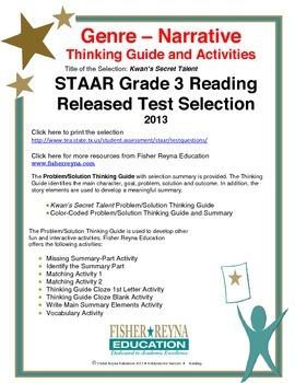 STAAR Release Analysis & Activities: Kwan's Secret Talent, Grade 3
