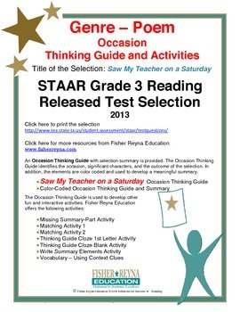 STAAR Release Analysis & Activities: Saw My Teacher on Saturday, Grade 3