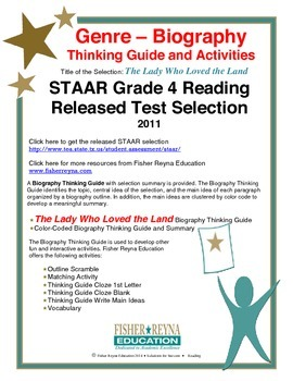 STAAR Release Analysis & Activities: The Lady Who Loved the Land, Grade 4