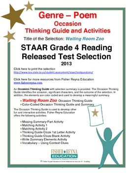 STAAR Release Analysis & Activities: Waiting Room Zoo, Grade 4