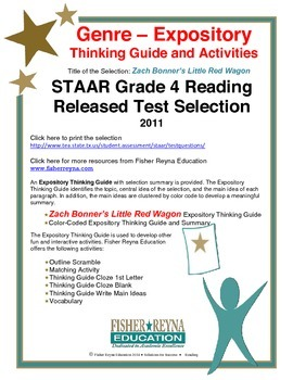 STAAR Release Analysis & Activities: Zach Bonner's Little Red Wagon, Grade 4