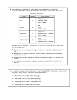 STAAR Released Questions for 5.5A Properties of Matter