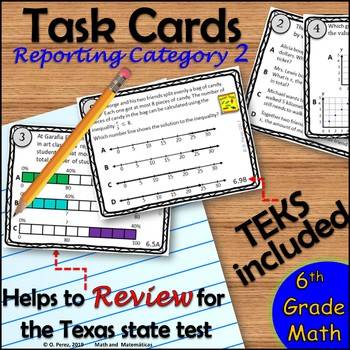 STAAR Review 6th Grade Math-Task Cards for Reporting Category 2