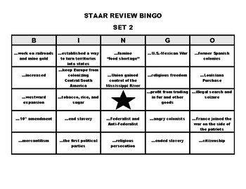 STAAR Review Bingo