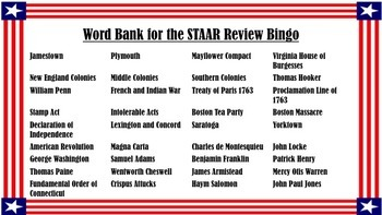 STAAR Review Bingo Bundle: Colonization-Reconstruction