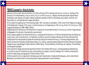 STAAR Review Bingo: Important People & Events-Colonization & Revolutionary Eras