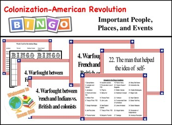 STAAR Review Bingo: Important People & Events-Colonization