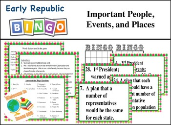 STAAR Review Bingo: Important People, Events,  and Places of Early Republic
