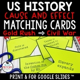 STAAR 8th SS Review - Cause and effect matching cards - Gold Rush to Dawes Act