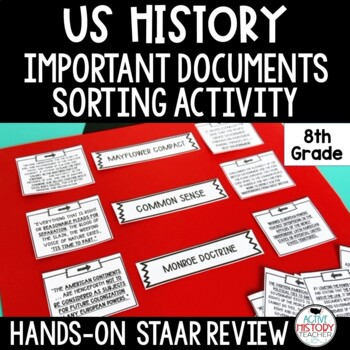 STAAR 8th Social Studies Review - Important Document Sort - 3 Way Match