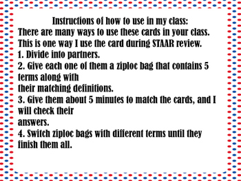 STAAR Review  Matching Card  #2: Early Republic and Westward Expansion