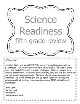 STAAR Review - Readiness TEKS - mastery - warm-up - homework