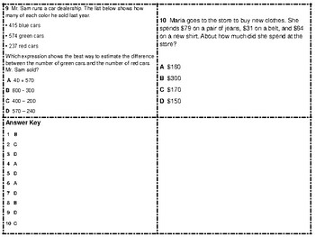STAAR Review Rounding and Estimation Task Cards TEKS 3.4B