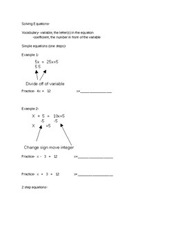 STAAR Review Study Guide Solving Equations