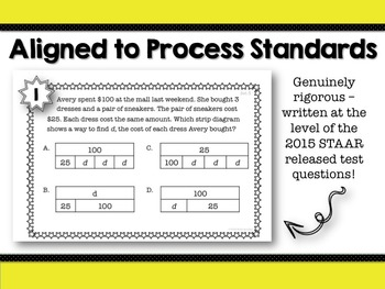 STAAR Review Task Cards: Multi-Step Strip Diagrams & Equations {TEKS 4.5A}