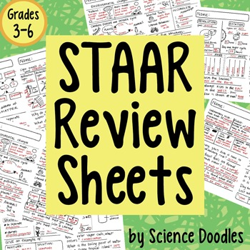 STAAR Science Doodles Review Test Prep Sheets
