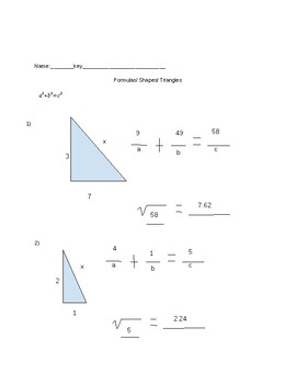 STAAR Review Worksheet formulas, shapes, and triangles