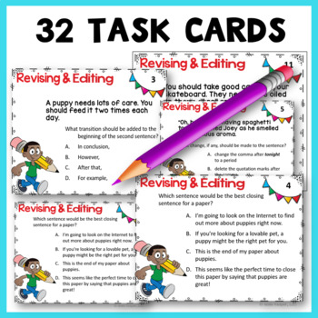 Revising and Editing Writing Task Cards