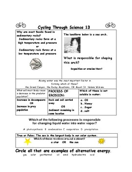 STAAR SCIENCE Weekly Review Packet 4:Cycling Through Science