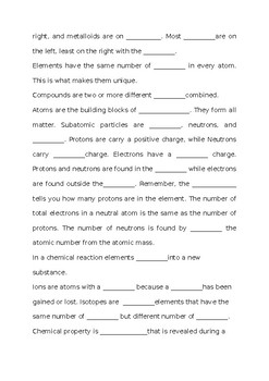STAAR Science 8th Grade Mastery Fill in the Blank Activity