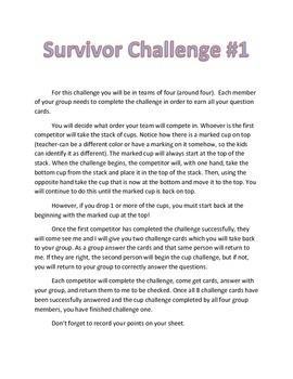 Science Test Review Game-Survivor Theme