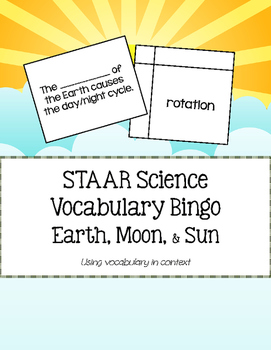 STAAR Science Vocabulary Bingo: Earth, Moon, & Sun System TEKS