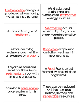 STAAR Science Vocabulary Bingo: Earth's Changing Surface TEKS
