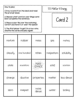 STAAR Science Vocabulary Bingo: Matter & Energy TEKS